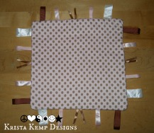 Pink and Brown Polka Dot Taggy Blanket-perfect for the little princess in your life!